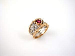Diamond Pattern with Ruby Ring - Anello Rombi con Rubino